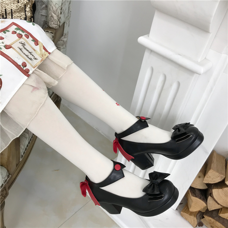 Japanese original Lolita shoes girl student lovely round head high heel magic girl cos tea party shoes