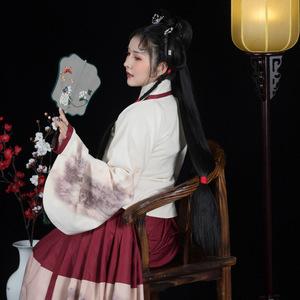 [居山静】原创交领琵琶袖汉服加绒成人女装数码印一片式齐腰裙冬图片