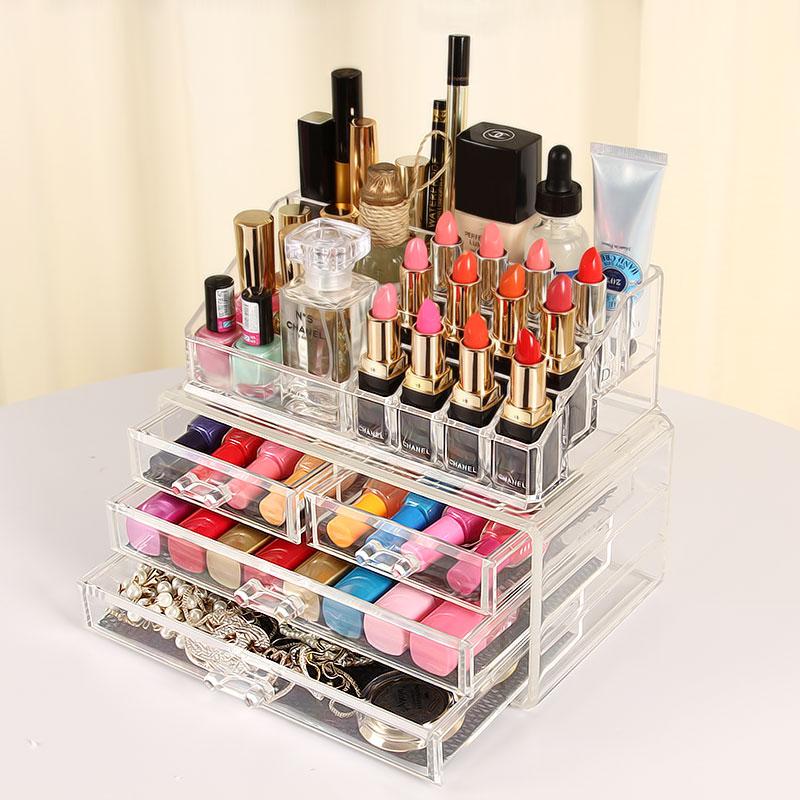 透明抽屜式化妝品收納盒 亞克力收納化妝盒 梳妝台桌麵收納櫃