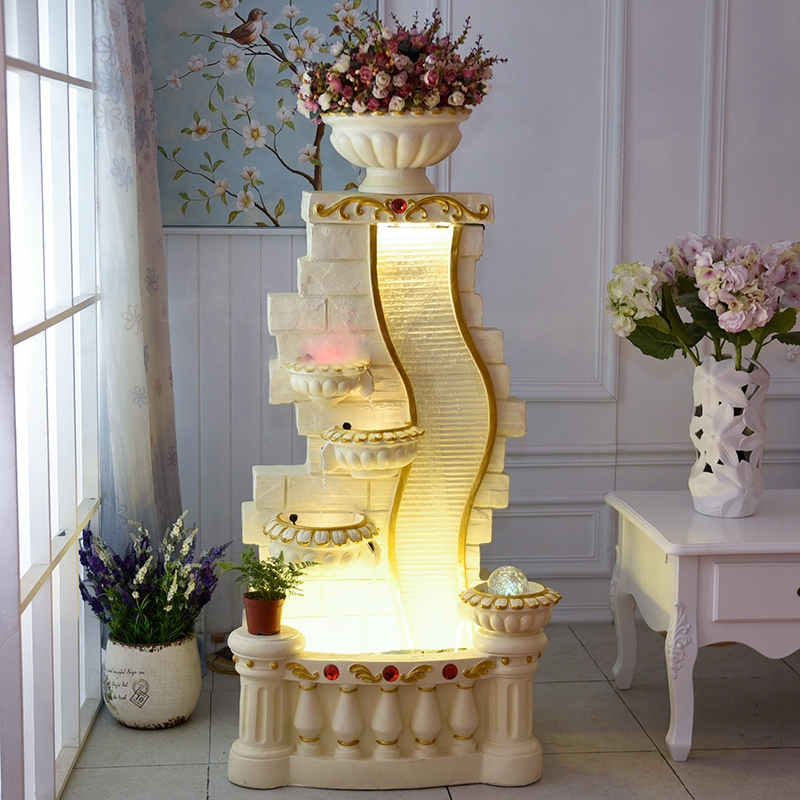 欧式大鱼池客厅喷泉流水水景家居装饰品摆设招财风水轮水幕墙摆件