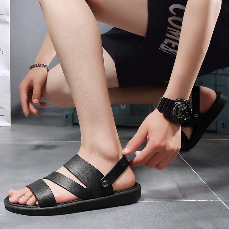 凉拖鞋男士防滑软底凉鞋居家室外两用凉拖黑色大码休闲潮流罗马鞋