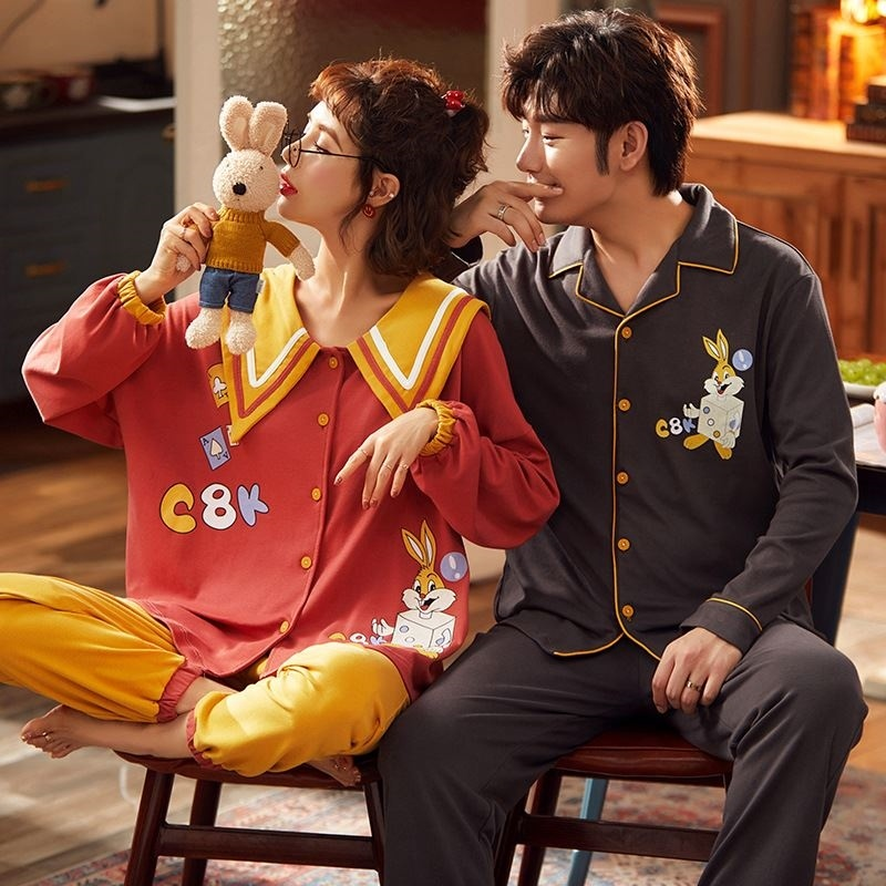 Long sleeve pajamas mens cotton spring autumn Pullover youth cotton suit casual mens large home clothes cute