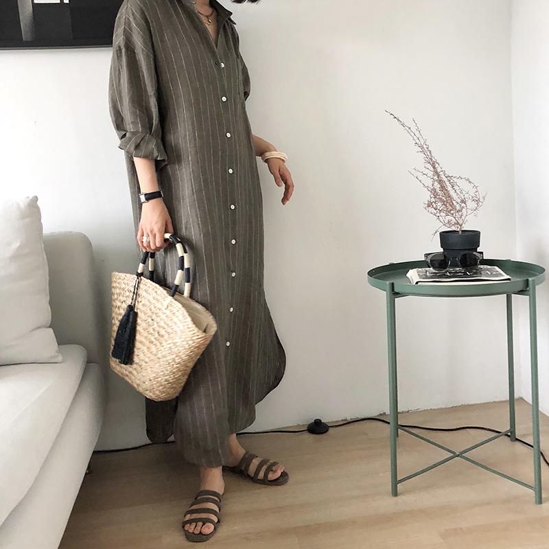 kikochic 韩国代购洋气复古亚麻竖条纹直筒宽松长袖衬衫连衣裙女
