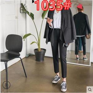 西服套裝女春秋韓版新品小西裝上衣九分褲兩件套chic休閑職業工裝