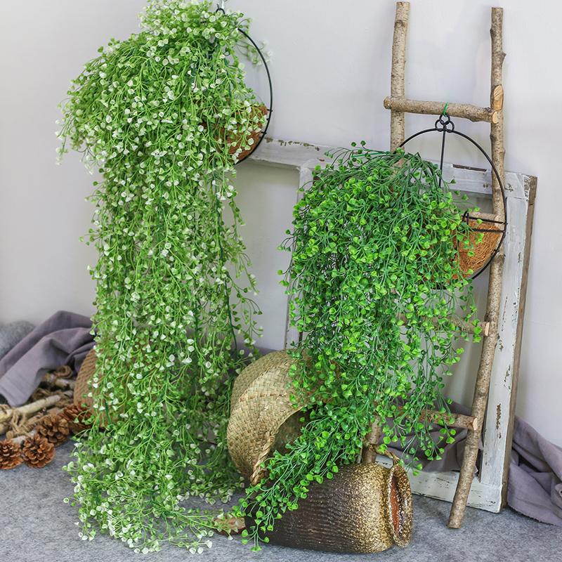 仿真金钟柳客厅墙面装饰室内绿植壁挂花假花藤条垂吊植物吊兰藤蔓