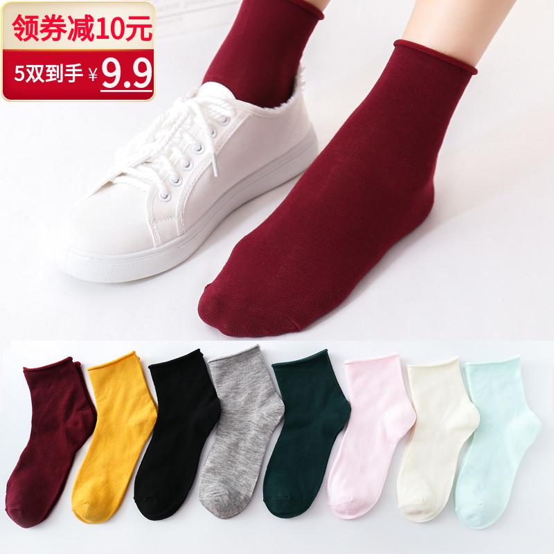 纯色女长筒袜袜子原宿棒球中筒袜潮运动校园风长袜日系简约素色袜