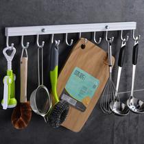 免打孔厨房挂杆壁挂不锈钢吸壁式多功能活动挂钩式排钩置物杆挂架