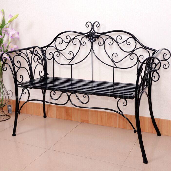 欧式铁艺沙发椅户外长椅阳台客厅双人椅子公园椅闲玩间黑色白色