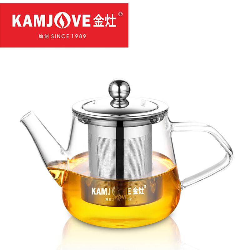 金灶 A-05 450ml玻璃泡茶壶 耐高温304不锈钢过滤煮茶壶茶艺壶