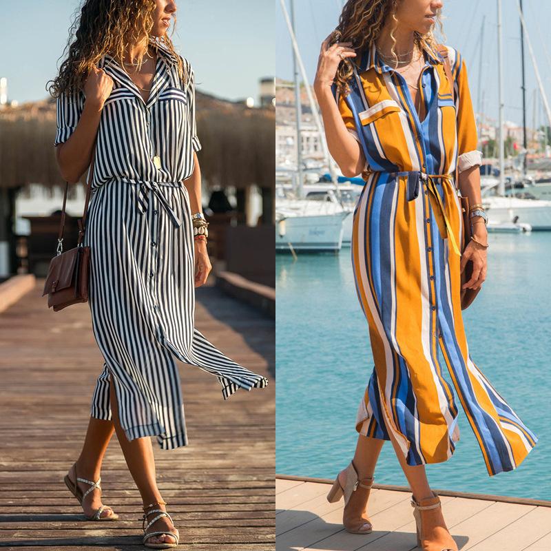 Women autumn long sleeve dress ladies chiffon stripe skirt