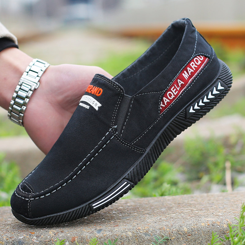 Canvas mens casual cloth shoes single shoes old Zhaobai Beijing deodorant trend single shoes big size working shoes soil