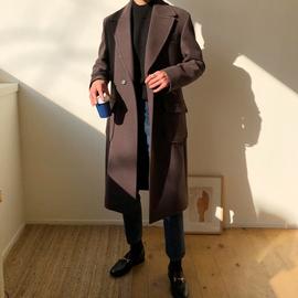 韩版冬季潮流毛呢大衣男中长款青少年英伦风加厚西装领过膝双排扣