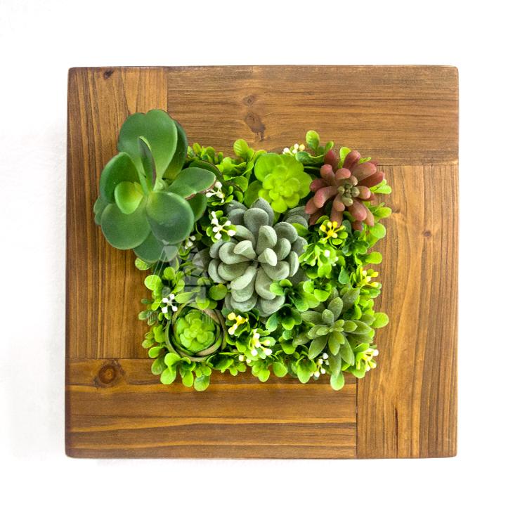 木制壁掛仿真多肉植物