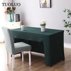 定制会议桌布纯色广告展会桌套办公室地推加厚长方形台布可印LOGO