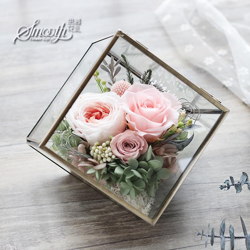 【顺丰包邮】奥斯汀玫瑰永生花康乃馨小立方玻璃罩礼盒