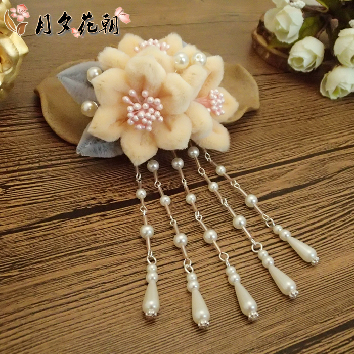 Yanxis introduction to the same style of flannel hair accessories intangible tassel hairpin