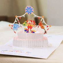 Birthday cake greeting card 3D creative gift DIY three-dimensional paper sculpture festival employee birthday Korean blessing small card