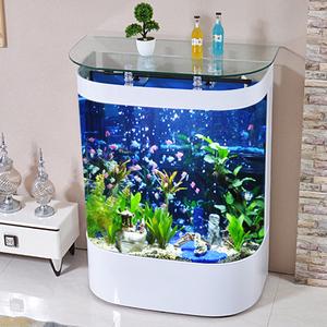 圆形鱼缸水族箱客厅小型家用玻璃造景金鱼缸乌龟缸免换水生态鱼缸
