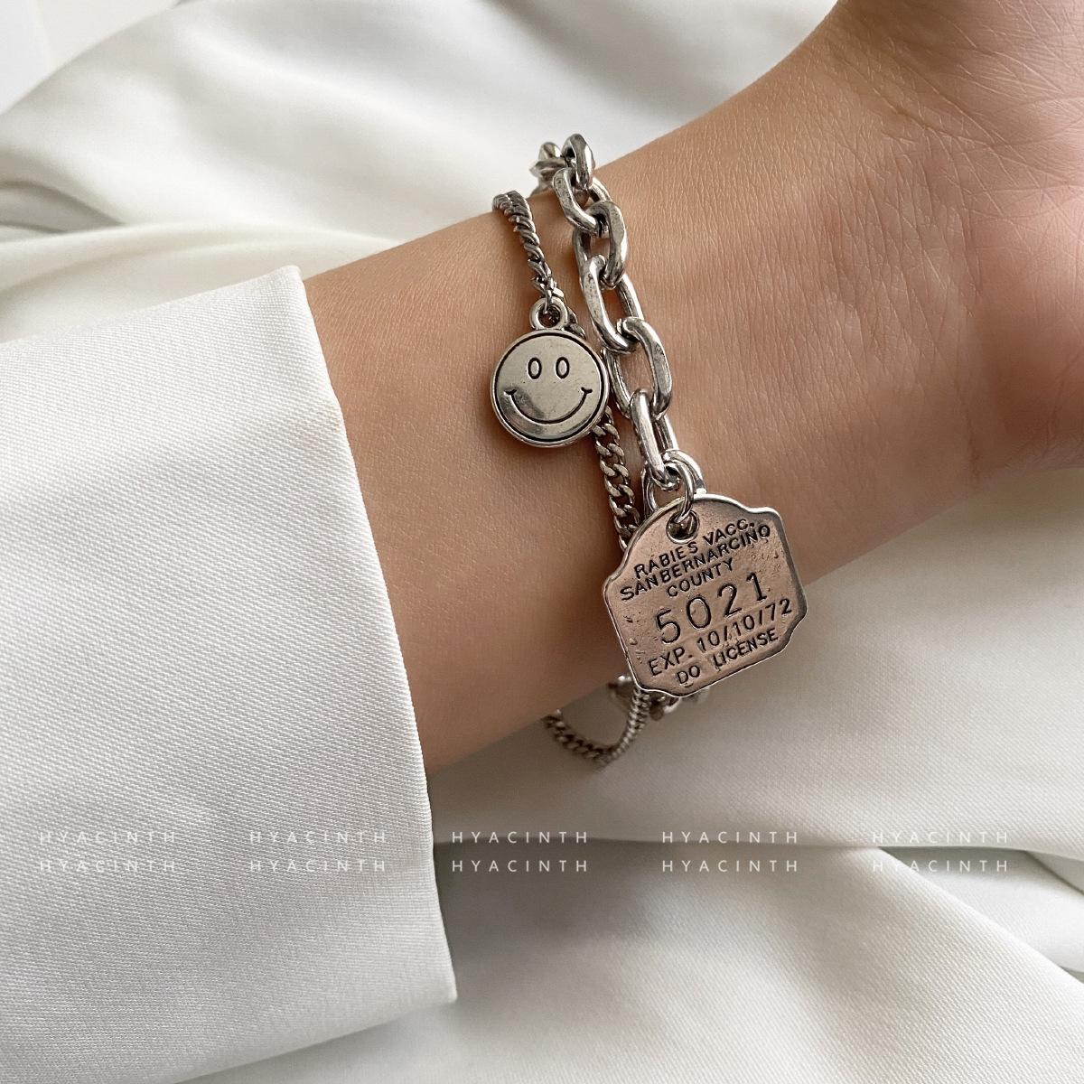中國代購|中國批發-ibuy99|手镯|韩国冷风小众设计感数字手链情侣款多层古银可爱笑脸手镯饰品女