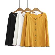 2020秋季新款大码女士休闲上衣小清新波浪边冰丝针织坑条长袖T恤