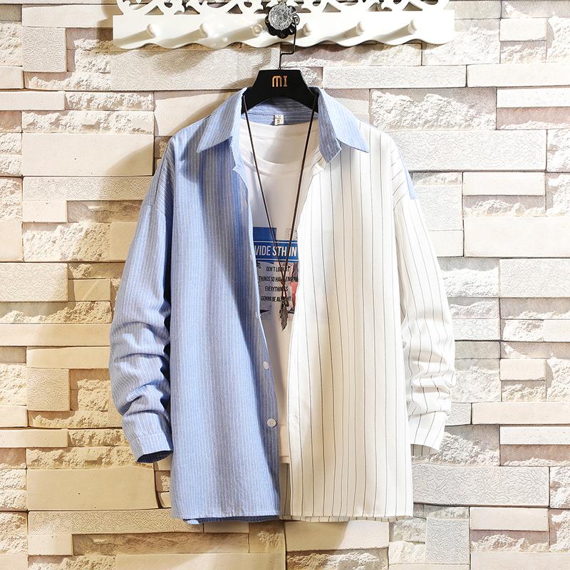2019秋季 砖墙条纹男士 长袖衬衫A009-C399-P50 85棉 15涤纶 白