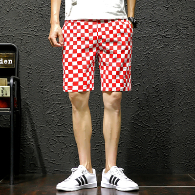 8INS弹力夏季男士格子大码五分运动裤潮流休闲短裤9251-P35