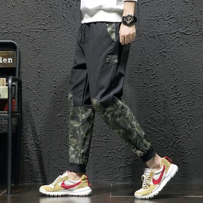 7裤子男韩版潮流ins运动裤大码休闲裤宽松束脚迷彩哈伦裤9277-P50