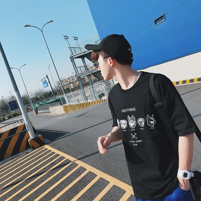 3大码短袖T恤男装潮流情侣纯棉宽松潮男加大码日系体恤188-P40