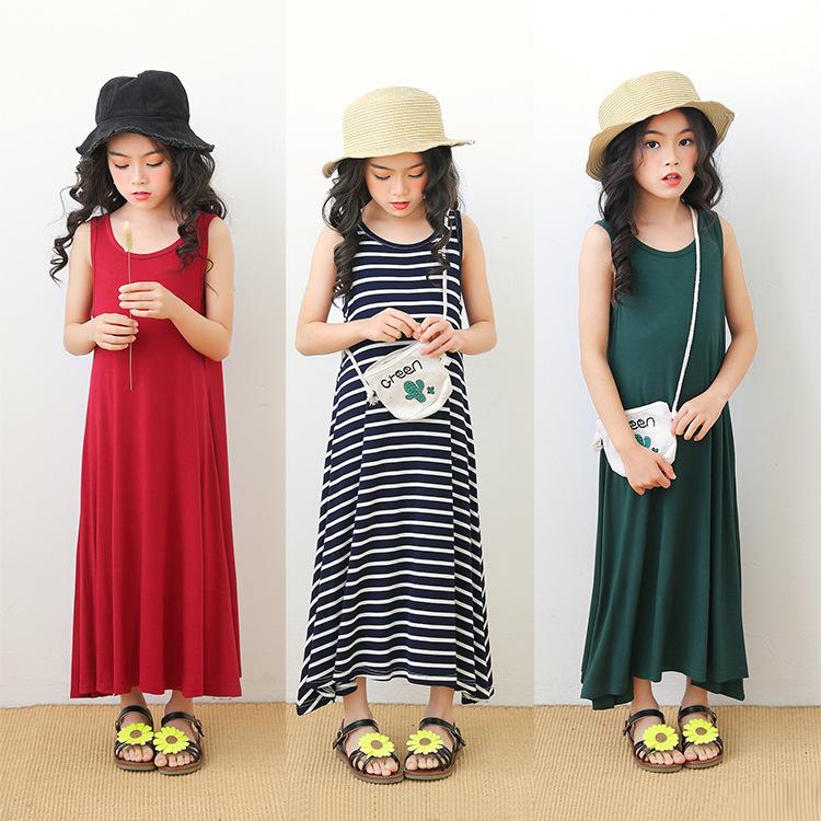 新款夏季莫代尔女童韩版洋气无袖背心长裙中大童宽松气质连衣裙