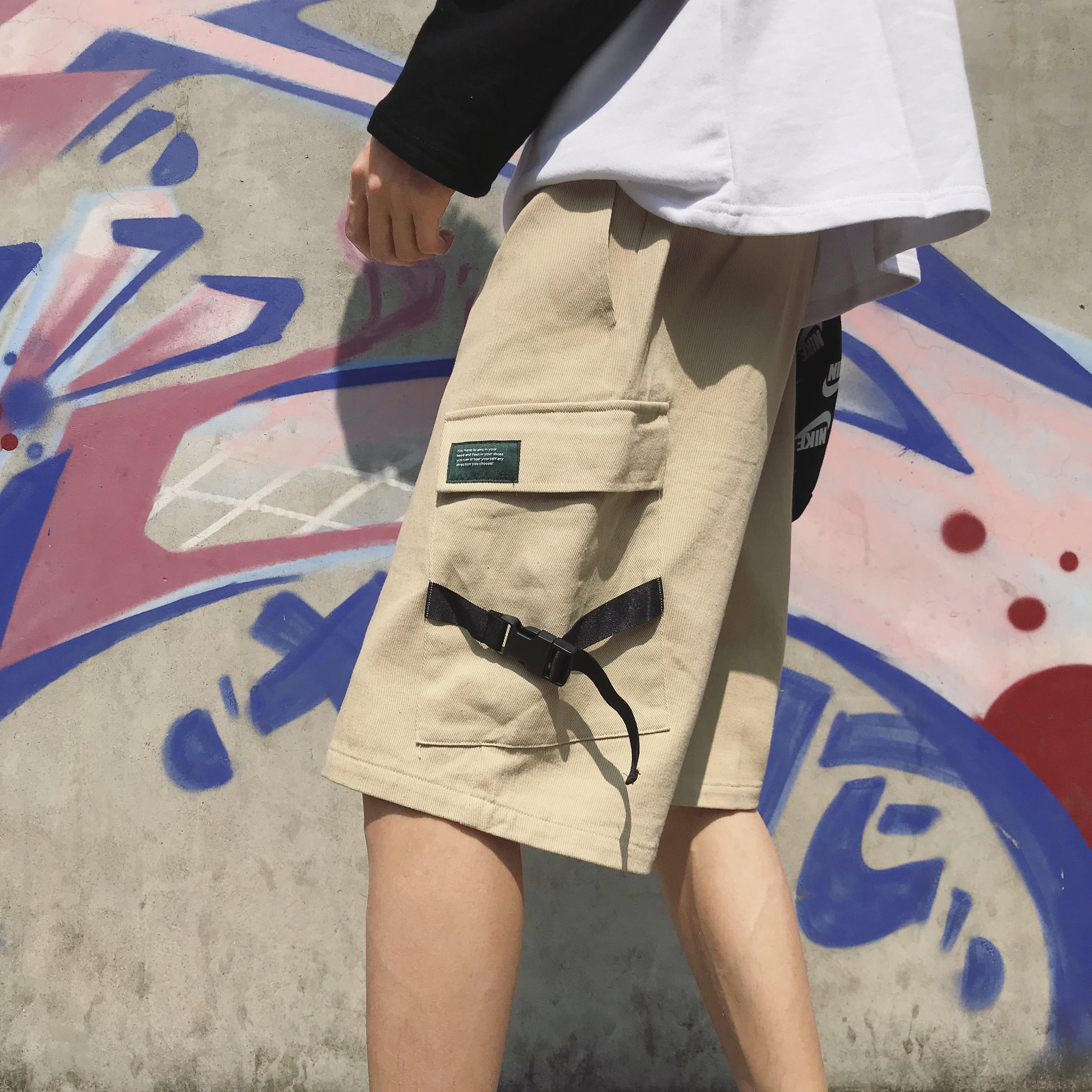 美式街頭中性bf風工裝大口袋休閑褲女韓版學生百塔寬鬆短褲五分褲