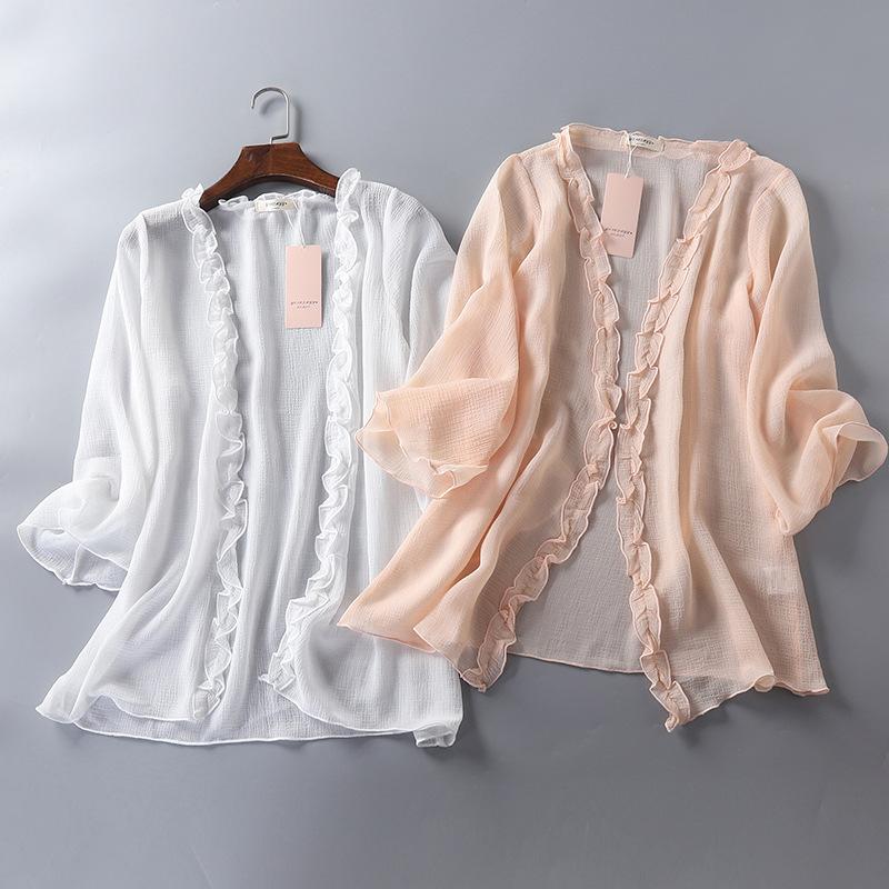 女人味新款雪纺开衫夏季空调衫海滩比基尼外搭小开衫宽松蕾丝开衫