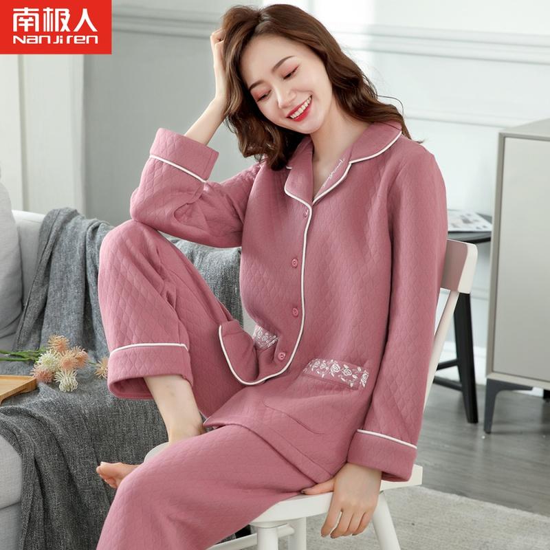 睡衣女春秋冬季长袖夹层加厚保暖纯棉中年妈妈全棉夹棉家居服套装