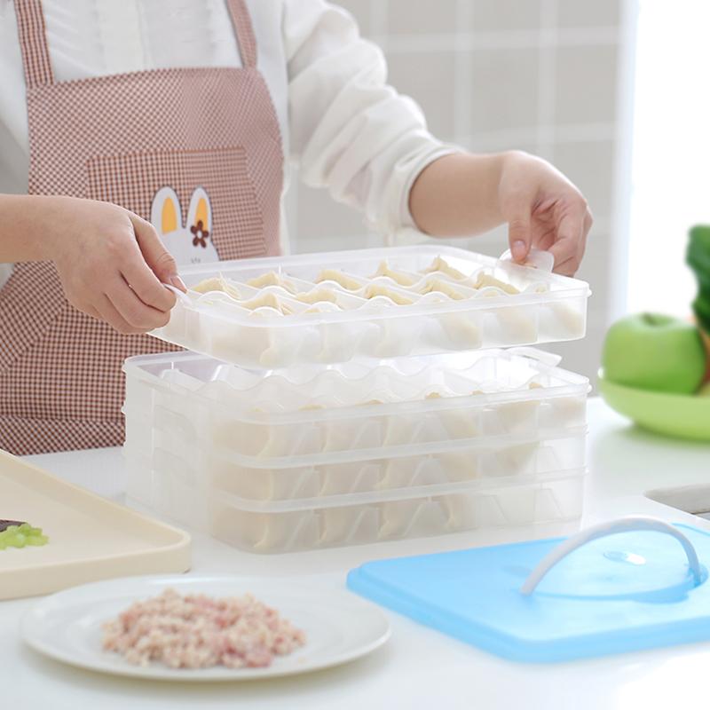 日本饺子盒冰箱保鲜收纳盒装馄饨冻饺子的多层放速冻水饺冷冻混沌(用34.9元券)