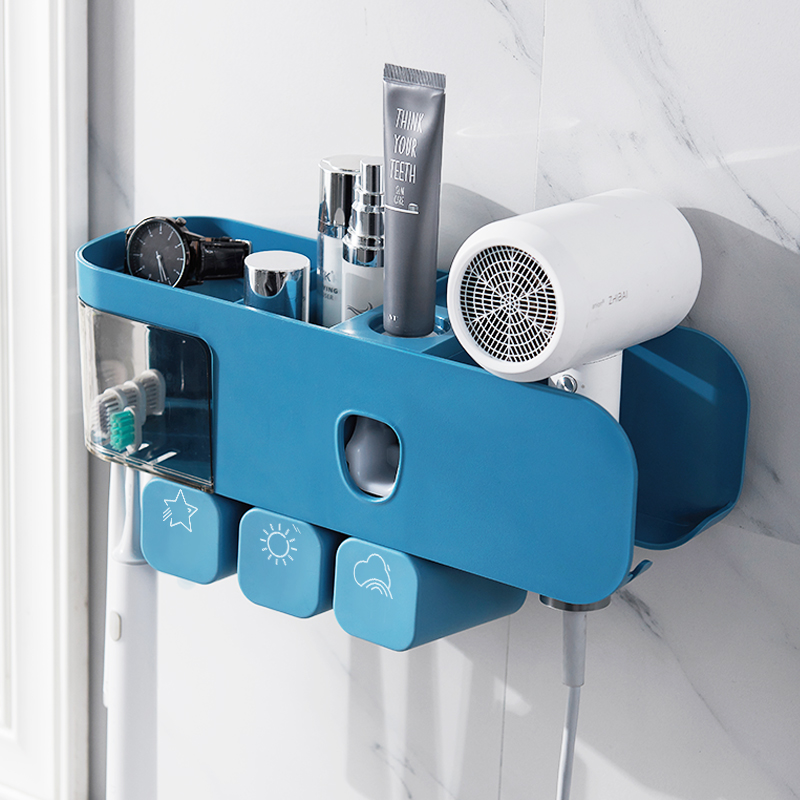 免打孔卫生间多功能吹风机浴室置物架厕所壁挂式牙刷牙膏收纳架,可领取30元天猫优惠券