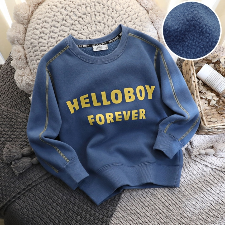 Stage boys and girls sports winter new medium and long boys suede cotton top childrens sweater suit cotton coat