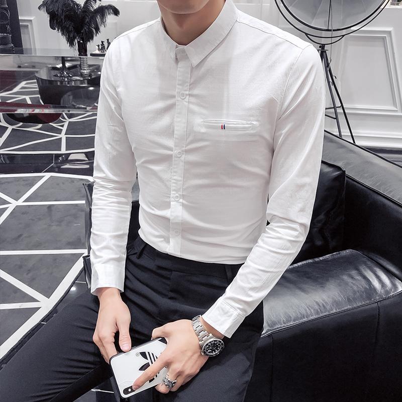 C314-H07P55/酒店风2020春季韩版男士长袖衬衫工作服简约衬衣日常
