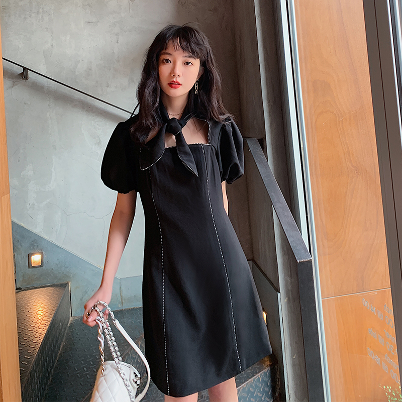 2020 summer small temperament small black dress original womens package mail package for the underworld