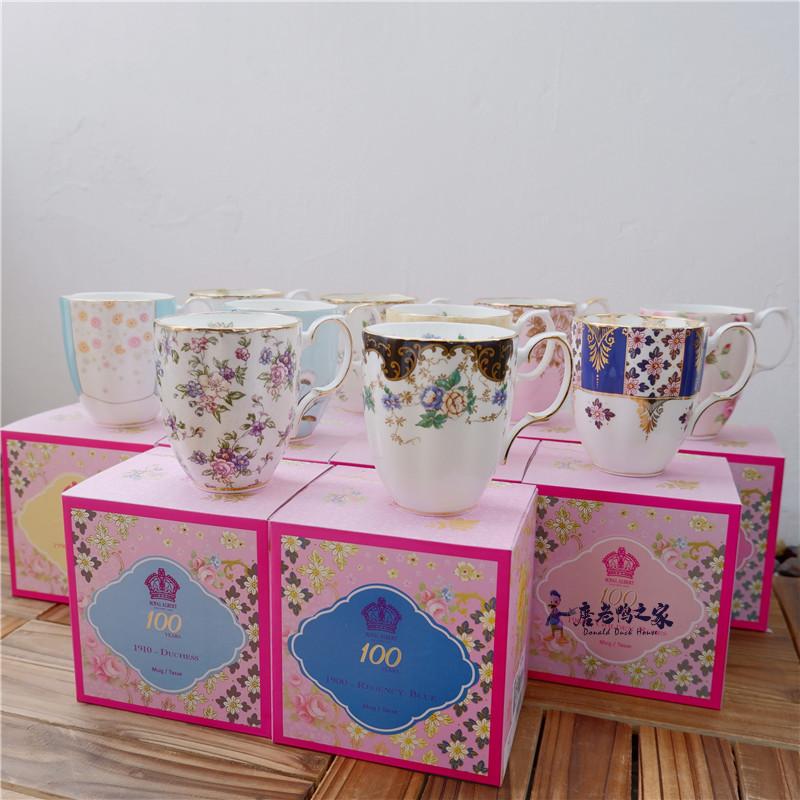 现货Royal Albert百年骨瓷大号马克杯咖啡杯办公室大容量水杯礼盒