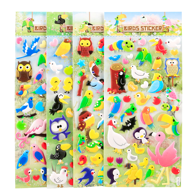 Cute birds cartoon three-dimensional bubble stickers childrens growth manual material decoration stickers kindergarten tabloid album