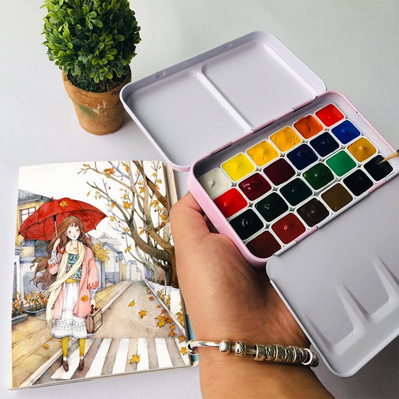 温莎牛顿歌文固体水彩分装24色基础色艺术家大师管状分装颜料套装
