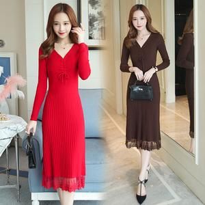 YF34610# 新款大码毛衣针织裙V领过膝连衣裙拼接蕾丝打底衫