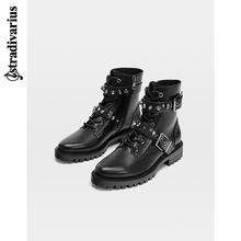 Spring and Summer Discount Stradivarius Handsome Locomotive Boots Flat-heeled Shoes Martin Boots 12948041040