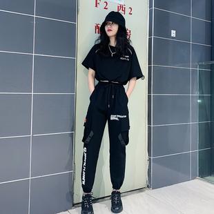 原宿港風歐美ins女裝黑暗系工裝套裝女潮夏季學生酷女孩穿搭 帥氣