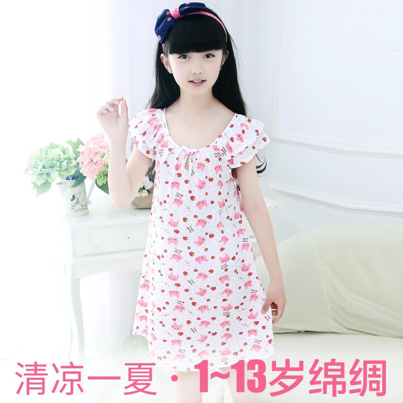 女童睡裙棉绸夏季公主连衣裙儿童睡衣夏天小女孩绵绸宝宝人造棉