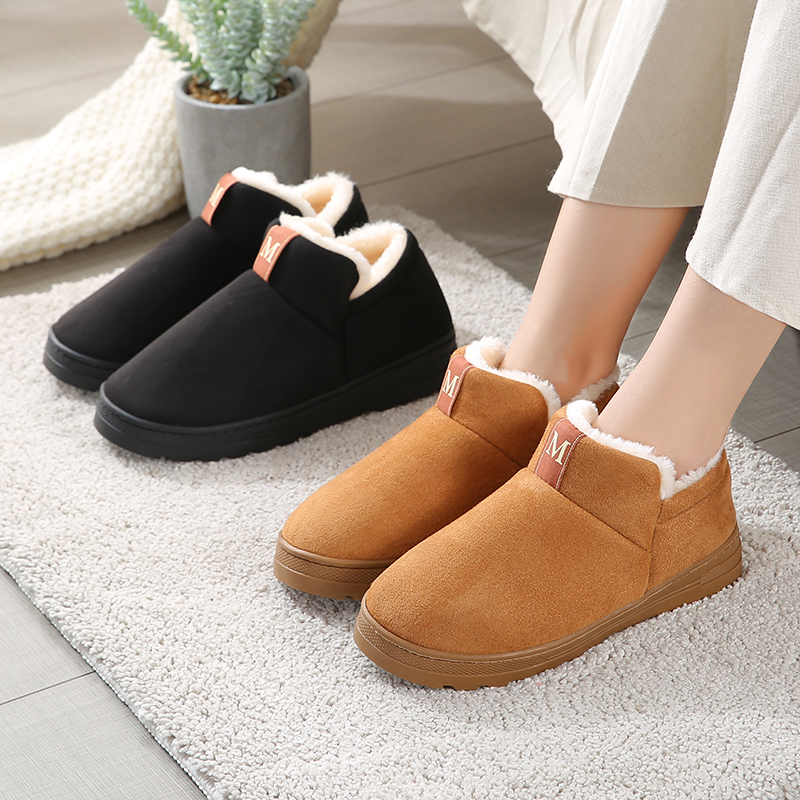 Winter thick soled plush cotton shoes women suede European and American short boots anti slip outdoor waterproof Snow Boots Mens home