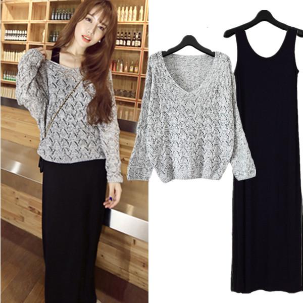 2016春季莫代尔圆领针织套装裙长袖韩版修身大码两件套连衣裙长裙