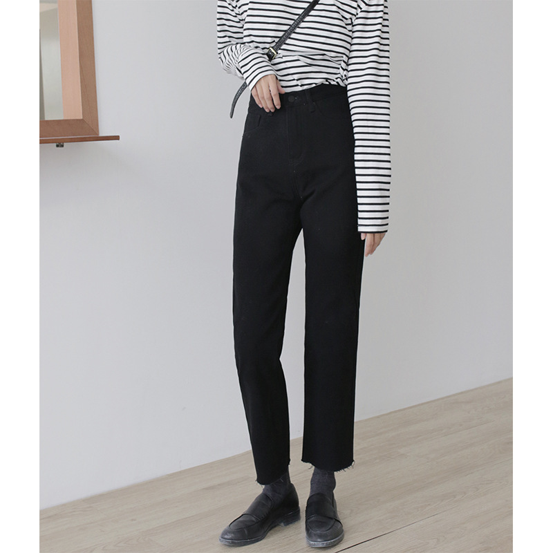 Mowang 2020 spring new loose straight black jeans