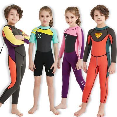 118.00元包邮儿童泳衣男童女孩加厚保暖速干2.5MM连体浮潜水服装水母长袖长裤