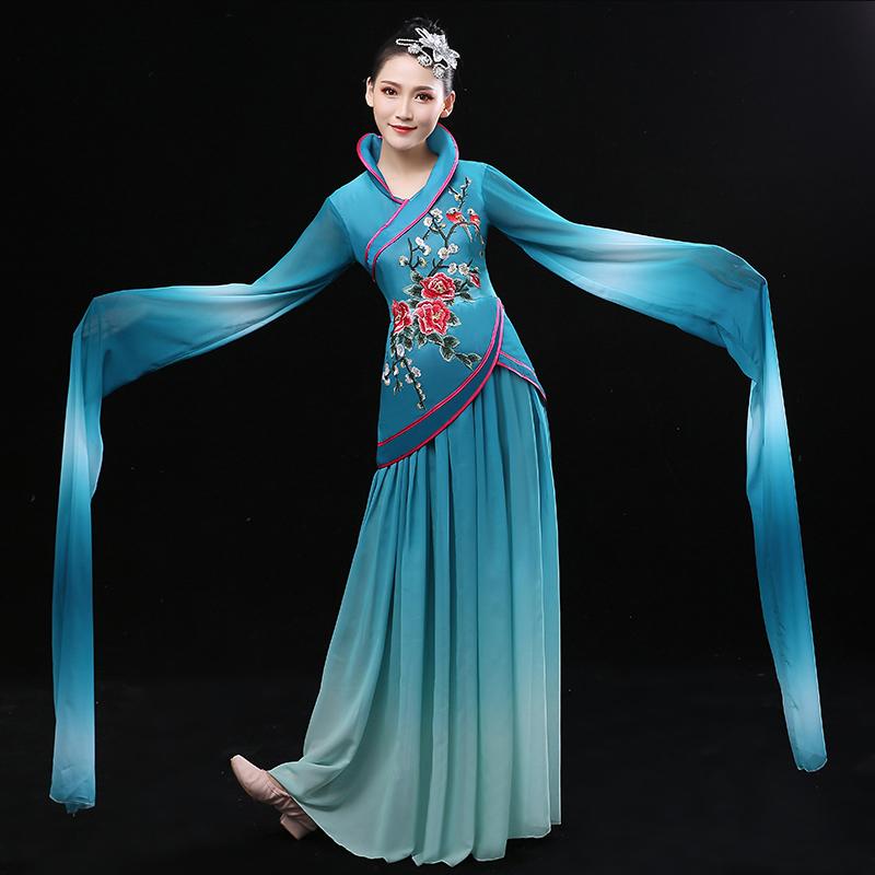 2018新款古典舞演出服�@��舞服�b女古�b�h服采薇舞�功服成人�h逸