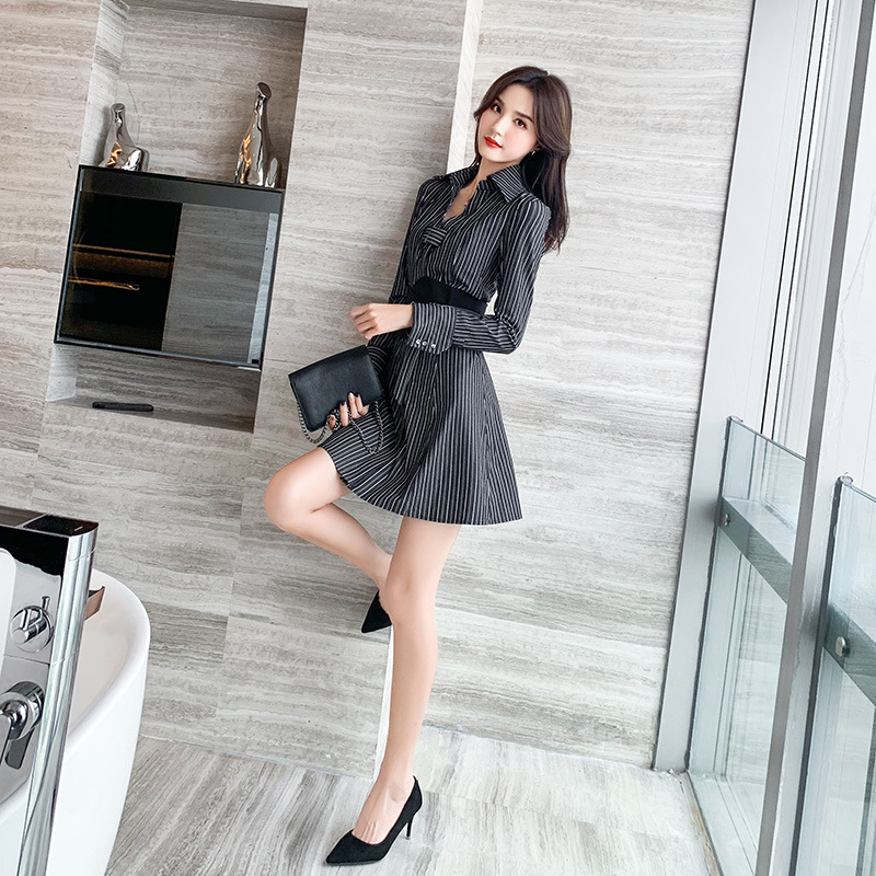 Dress spring 2020 new Korean style with waist closing and thin striped shirt skirt womens dress-9720